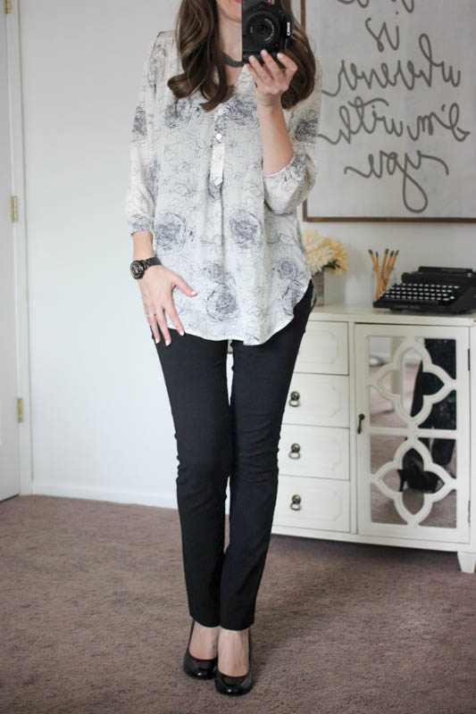 Alessandro Floral Print Silk Blouse from Amour Vert with Emer High Waisted Tall Trouser pants from Stitch Fix