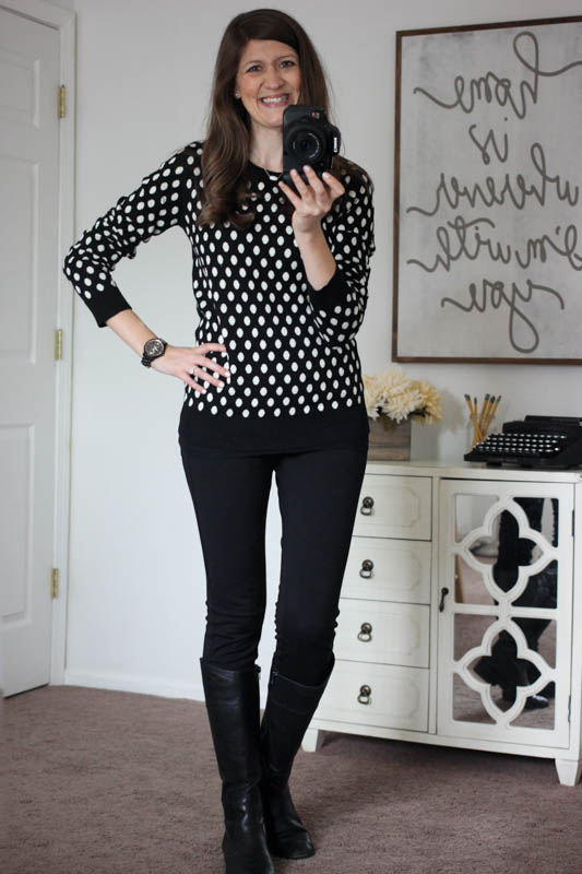 Gideon Polka Dot Sweater and black Rizzo Skinny Pant from Stitch Fix