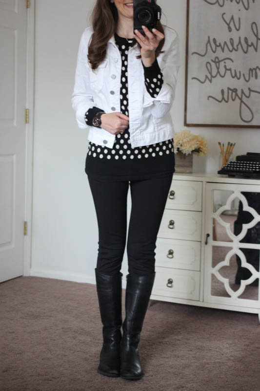 Gideon Polka Dot Sweater and black Rizzo Skinny Pant and Callie White Denim Jacket from Stitch Fix