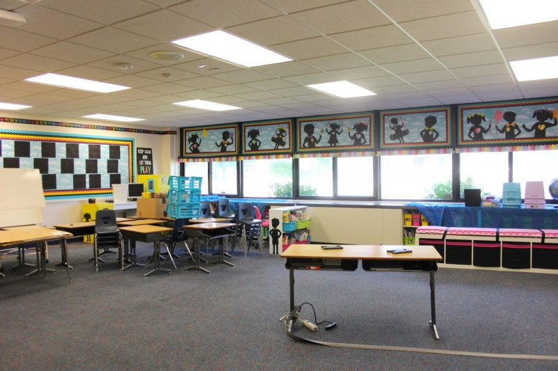 kindergarten classroom ready to be set up for back to school