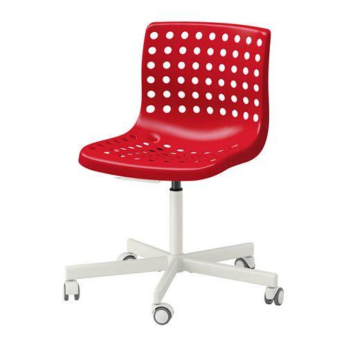 red ikea Skalberg swivel chair