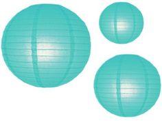 Set of 3 Aqua Turquoise lanterns - Schoolgirl Style
