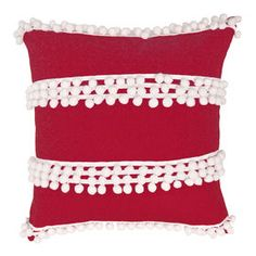 red pom pom pillow from At Home