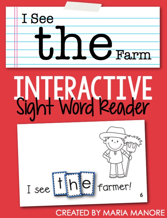 "Exclusive FREE Interactive Sight Word Reader to teach the sight word ""THE"""