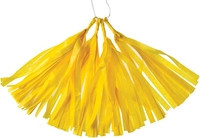 tissue paper tassels - yellow