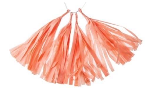 tissue paper tassels - coral