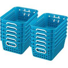medium rectangle book baskets from Really Good Stuff - neon blue
