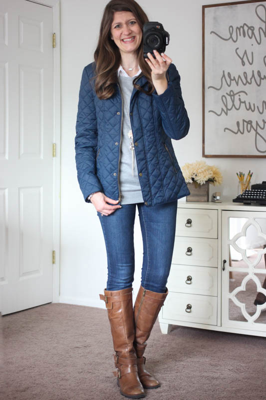 Sarah Quilted Jacket with Faux Fur Collar Lining from Coffeeshop and Sophia skinny jean with brown riding boots - Stitch Fix