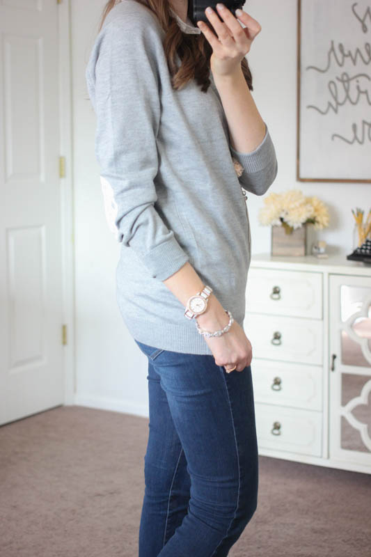 Fierro Elbow Patch Crew Neck Sweater and Kensie skinny jean - Stitch Fix
