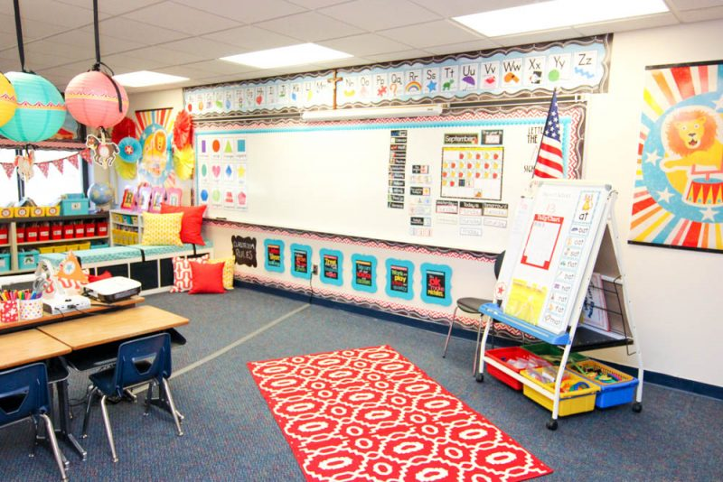 vintage circus kindergarten classroom with a bright red rug for students to gather on