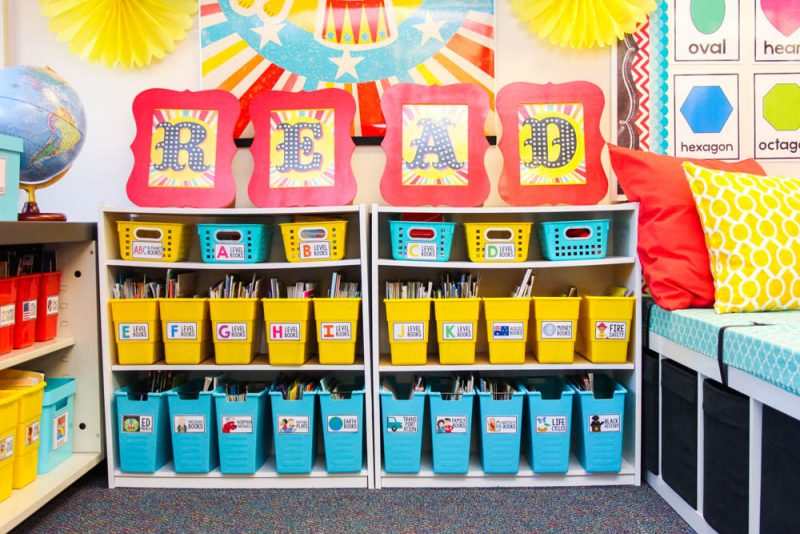 vintage carnival classroom library organization