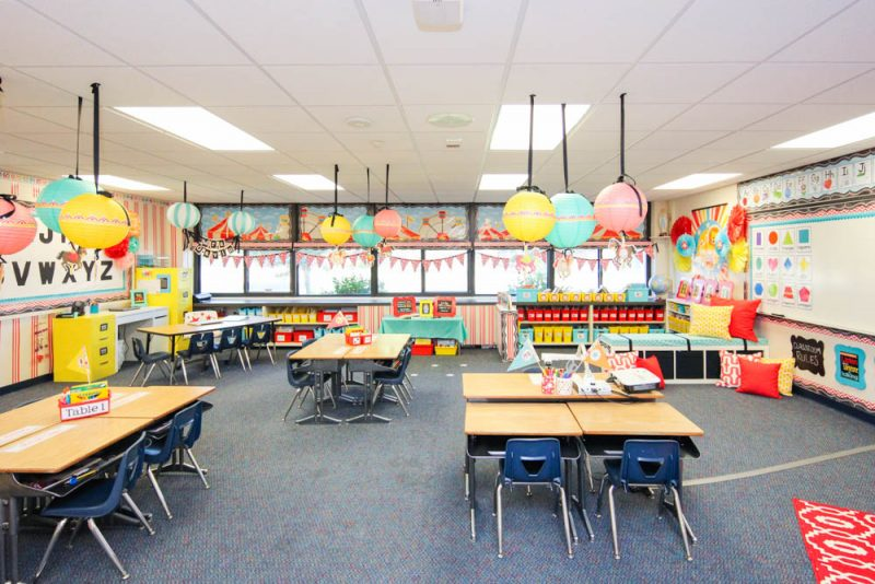Vintage Circus theme Kindergarten Classroom with pops of red, yellow and turquoise