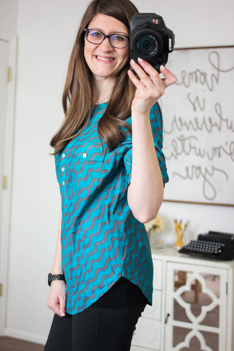Filbert Abstract Striped Henley Blouse from 41Hawthorn - December Stitch Fix