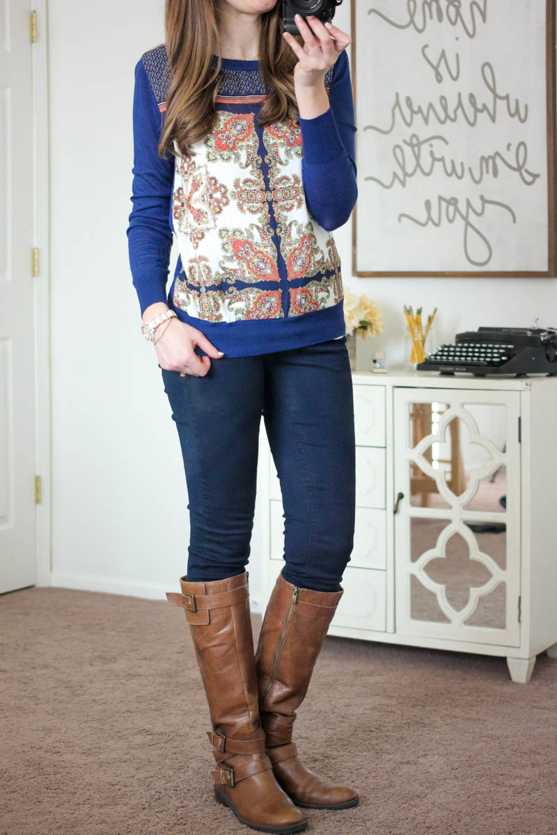 Zappo Printed Mixed Material Top from 41Hawthorn - December Stitch Fix