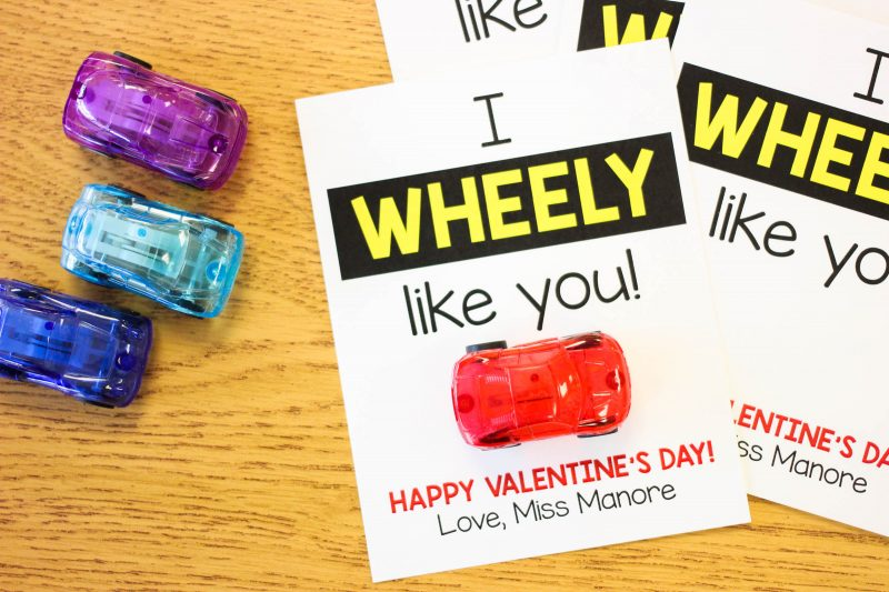 """I Wheely Like You!"" student Valentine freebie"