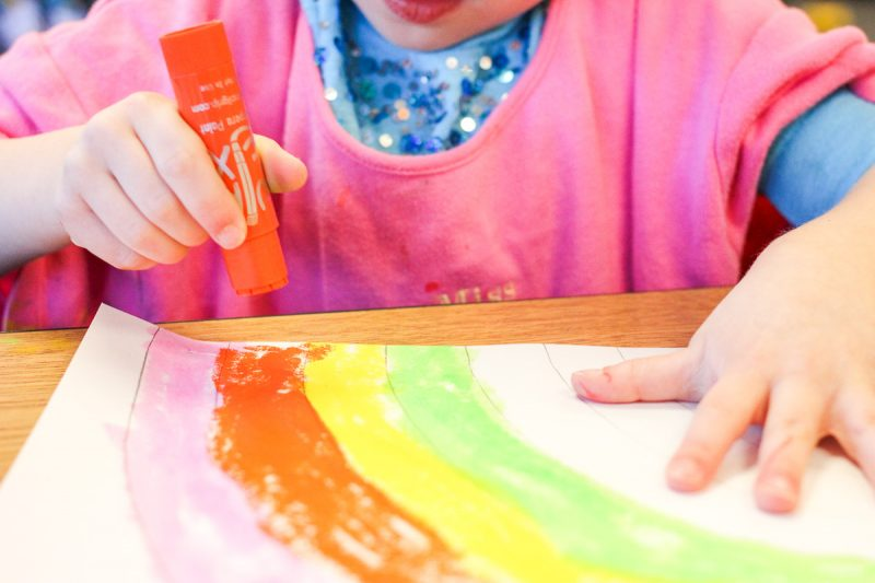 mess- free rainbow painting with Kwik Stix