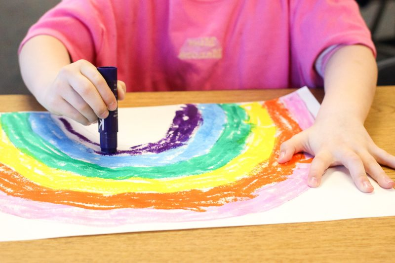 Mess-free rainbow painting with Kwik Stix dry tempera paints!