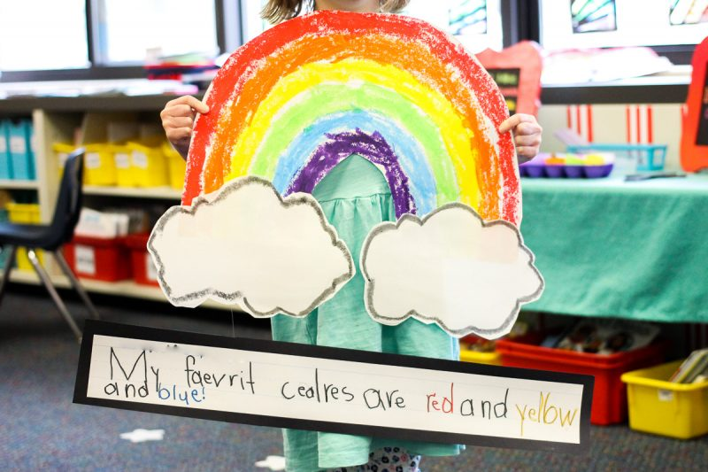 Kindergarten Rainbow Art and Sentence Writing