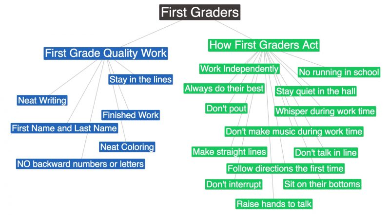 First Graders Concept Map