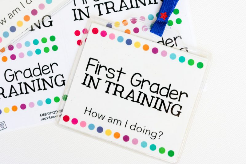 FREE First Grader in Training badges for kindergarten students to wear at the end of the school year