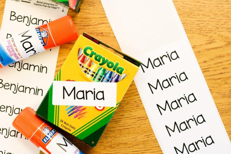how to label school supplies in kindergarten