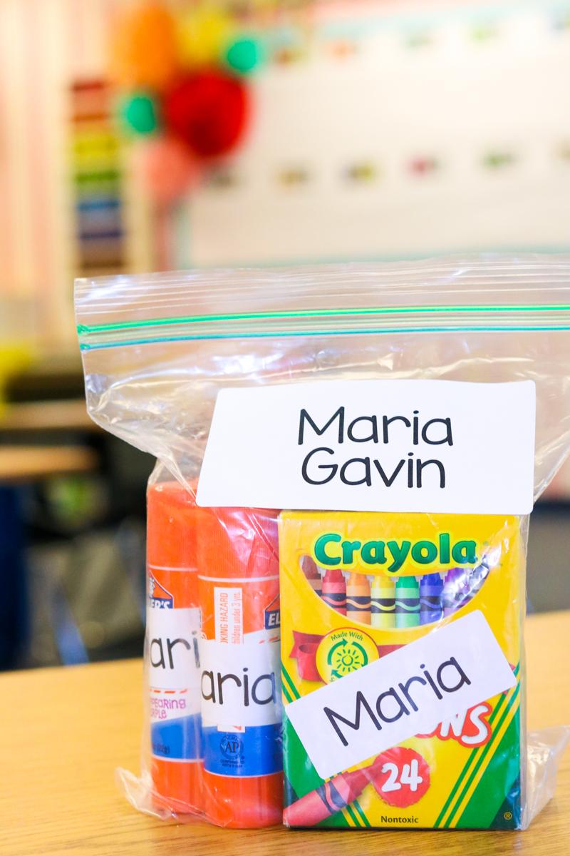 how I organize school supplies in kindergarten