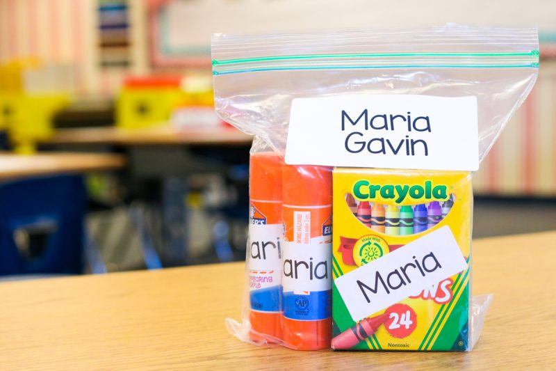 how to label, manage and organize supplies in kindergarten