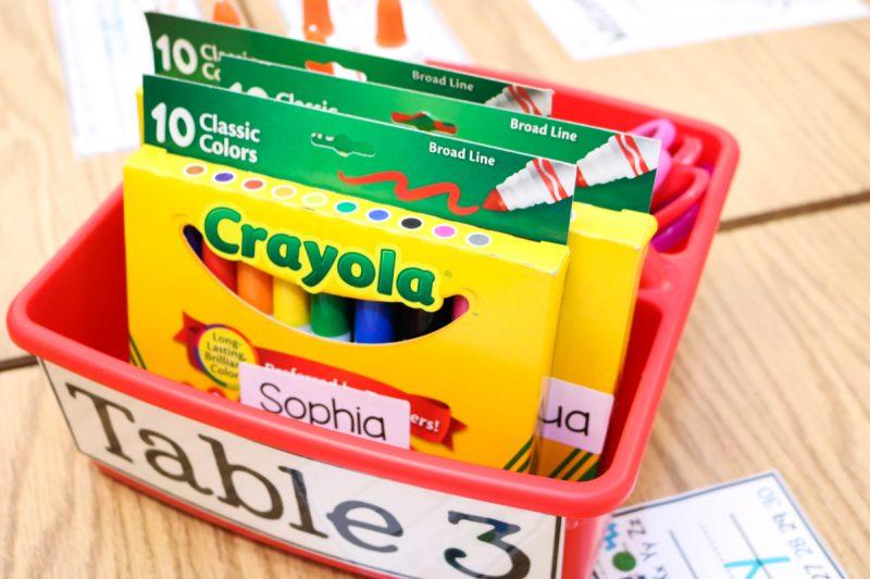 kindergarten school supply organization tips