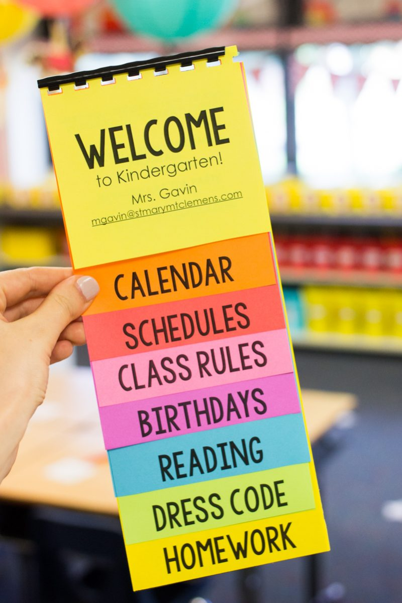 Kindergarten Calendar Homework : Free parent flip book template featuring astrobrights paper