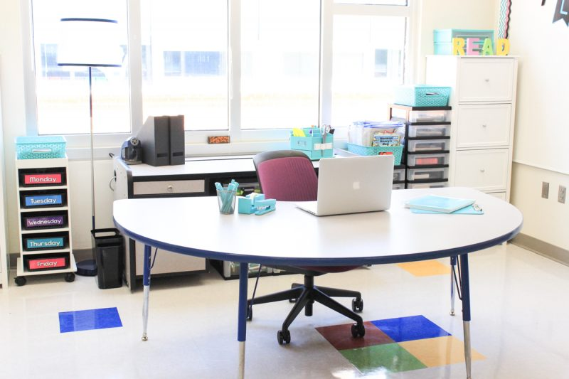 first grade teacher desk area