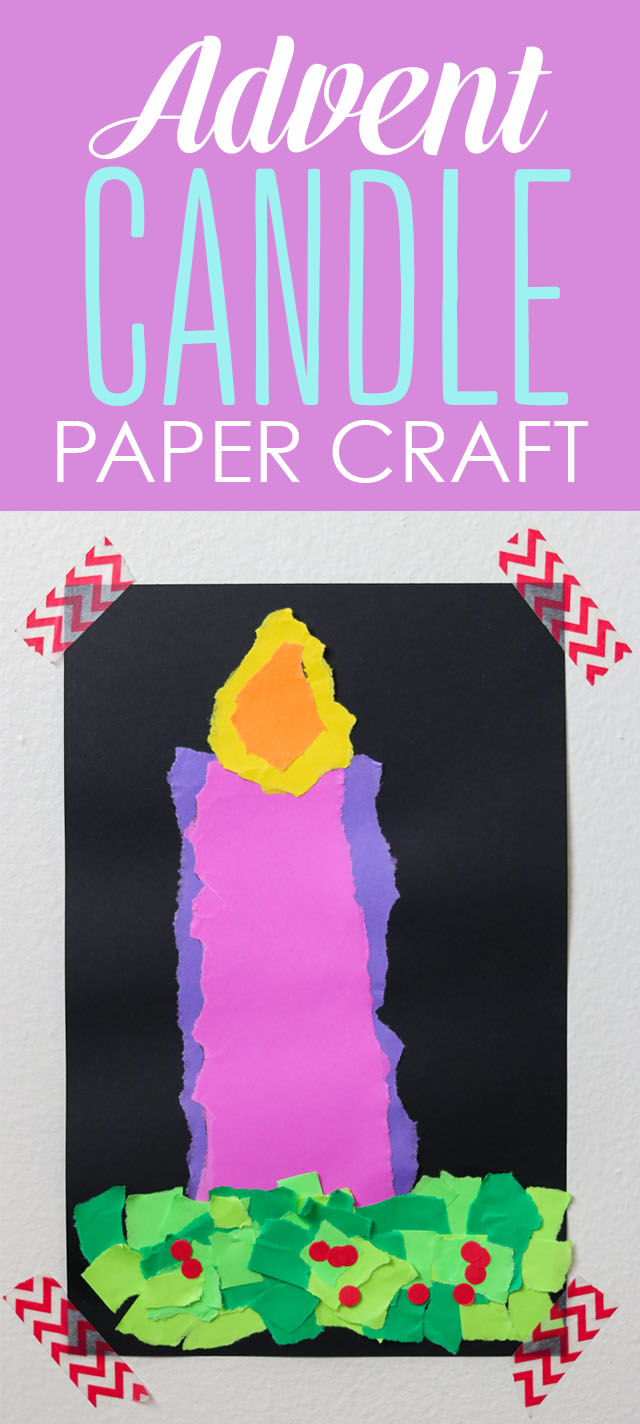 Advent Candle paper craft - cute Advent activity for kids from Kinder Craze and Astrobrights!