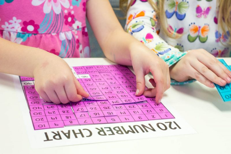 Using number puzzles to build number sense up to 120 with Astrobrights paper | Kinder Craze teaching blog