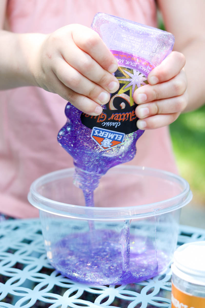 3 ingredient glitter slime recipe | mess-free slime recipe for kids