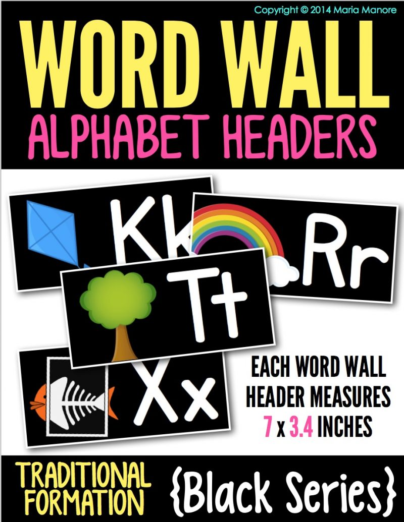 Word Wall Alphabet Headers from Maria Manore Gavin on TpT