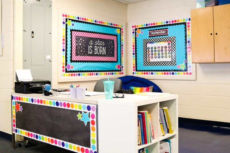 Twinkle Twinkle You're a STAR! classroom theme | teacher desk | classroom tour | classroom decor | classroom setup | rainbow classroom theme | back to school | Kinder Craze blog
