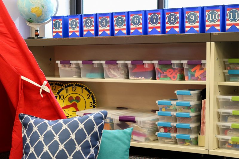 Classroom organization ideas | classroom design | classroom decor | Kinder Craze blog #backtoschool #classroom #classroomlibrary #catholicschool