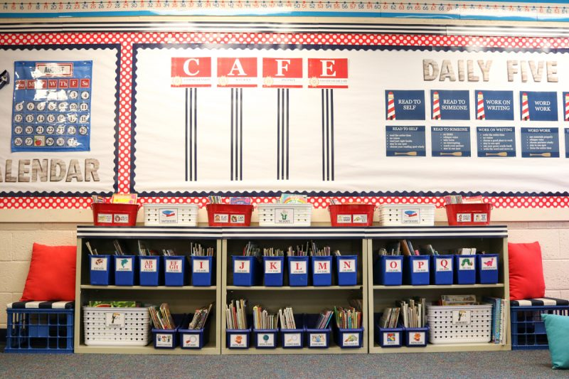 Classroom Library, CAFE and Daily Five signs in Second Grade Nautical Theme Classroom Makeover | classroom design | classroom decor | Kinder Craze blog #backtoschool #classroom #classroomdecor #classroomlibrary #catholicschool #dailyfive #cafe