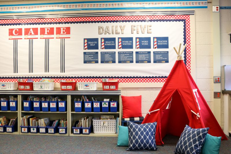 Adorable reading tent in Second Grade Nautical Theme Classroom Makeover | alternative seating | classroom design | classroom decor | Kinder Craze blog #backtoschool #classroom #classroomdecor #classroomlibrary #catholicschool #dailyfive #cafe