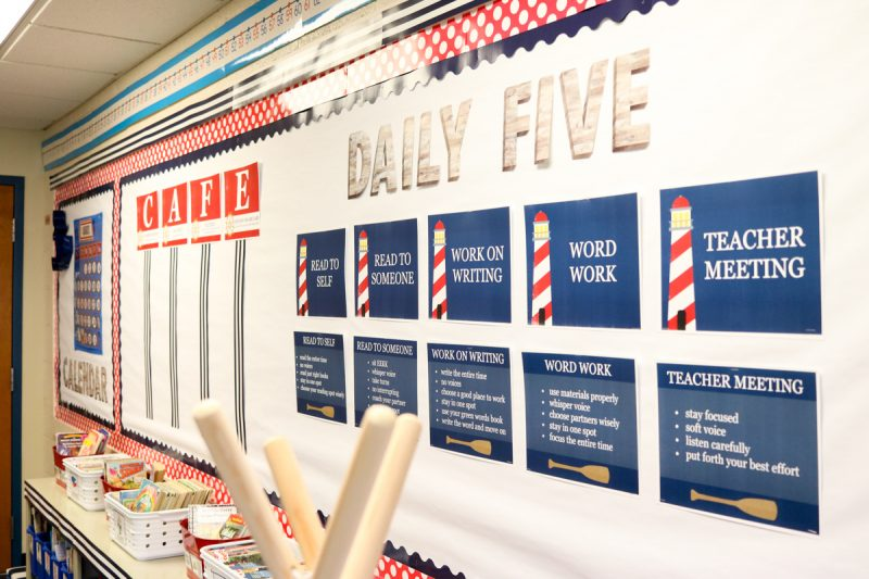 CAFE and Daily Five signs in Second Grade Nautical Theme Classroom Makeover | classroom design | classroom decor | Kinder Craze blog #backtoschool #classroom #classroomdecor #classroomlibrary #catholicschool #dailyfive #cafe