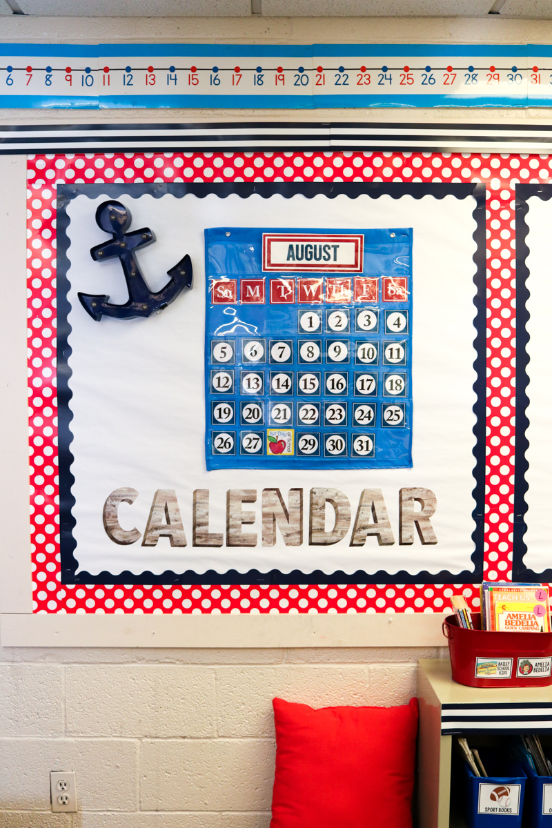Classroom Calendar in Second Grade Nautical Theme Classroom Makeover | classroom design | classroom decor | Kinder Craze blog #backtoschool #classroom #classroomdecor #classroomlibrary #catholicschool