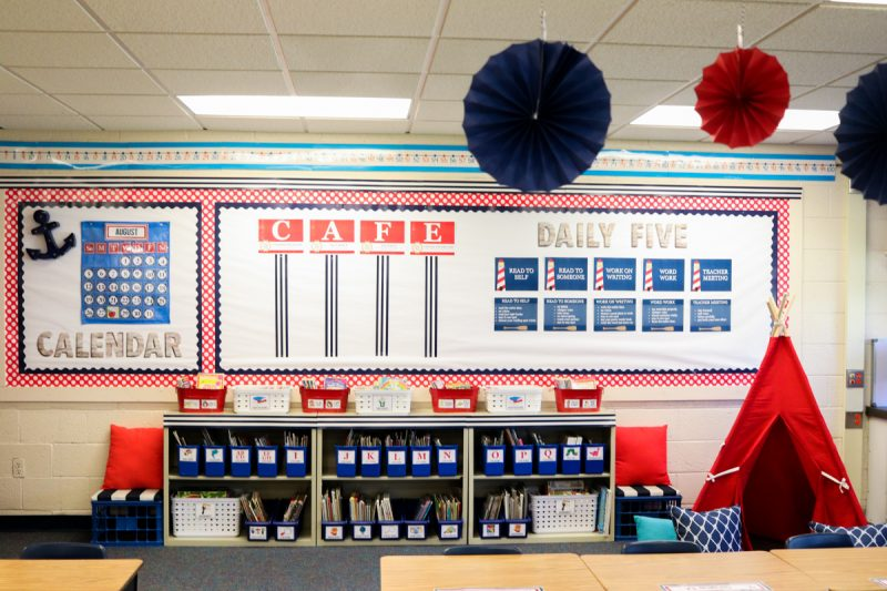 Gorgeous classroom library! Second Grade Nautical Theme Classroom Makeover | classroom design | classroom decor | Kinder Craze blog #backtoschool #classroom #classroomdecor
