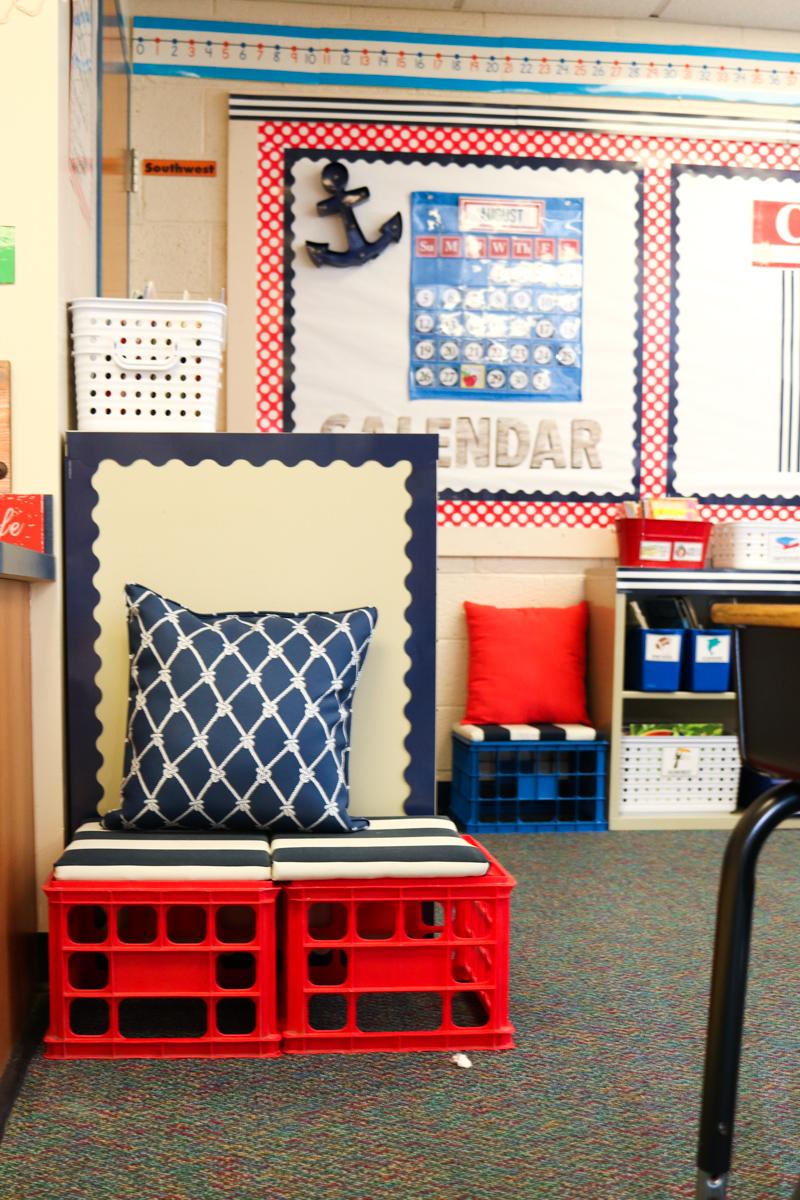 Second Grade Nautical Theme Classroom Makeover | alternative seating | classroom design | classroom decor | Kinder Craze blog #backtoschool #classroom #classroomdecor #classroomlibrary #catholicschool #dailyfive #cafe