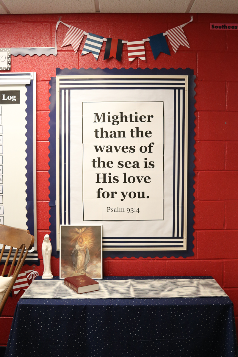 bible quote in Second Grade Nautical Theme Classroom Makeover featuring printables from Schoolgirl Style | alternative seating | classroom design | classroom decor | Kinder Craze blog #backtoschool #classroom #classroomdecor #classroomlibrary #catholicschool #dailyfive #cafe
