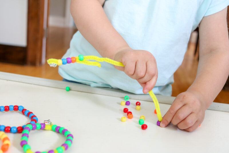 Beaded pattern bracelets for toddlers.