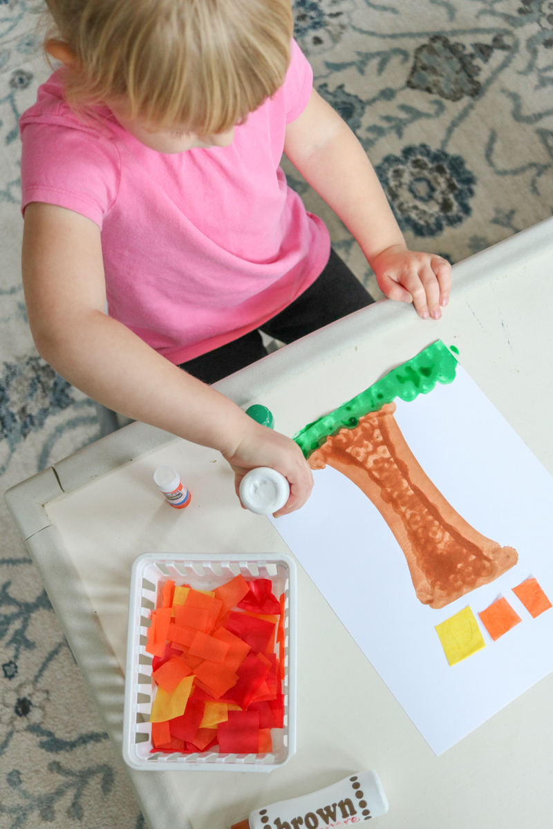 Fall is here! This fall tree craft project is super-simple and uses a few basic supplies to make a stunning tree with falling tissue paper leaves. This fall kids craft is a great project for preschool or kindergarten students. Toddlers can do this one too with a little extra help and support. Perfect for at-home or in a classroom setting.