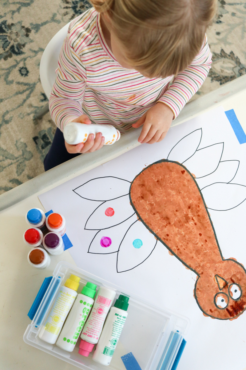 This painted turkey art project is the perfect Thanksgiving craft for kids. It's simple, washable and makes a great decoration for your family celebration. This craft is simple enough for a toddler, ideal for preschoolers, and the novelty is sure to be enjoyed by older children as well. Grab some dot markers and check out the full tutorial.