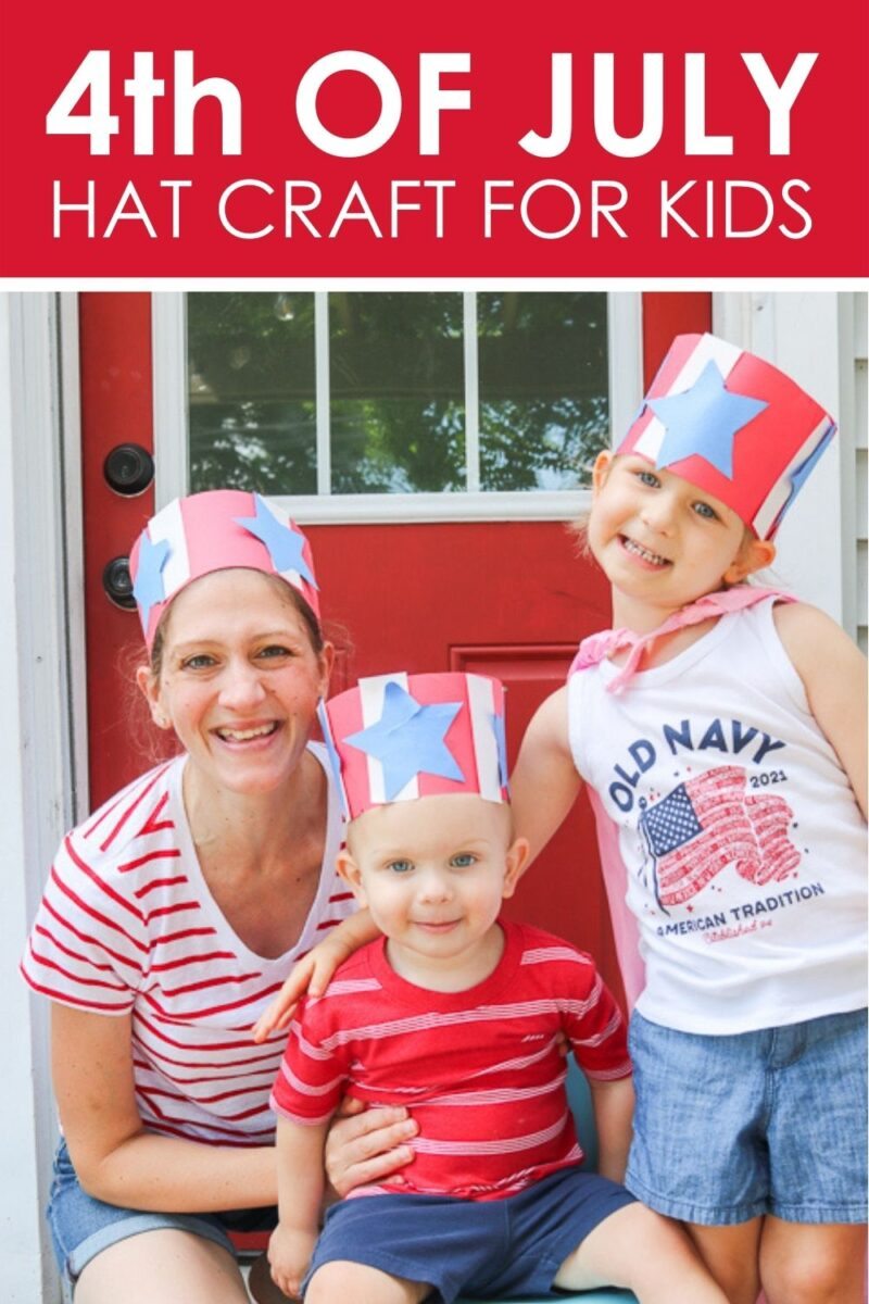 family wearing red white and blue construction paper kid craft hats for 4th of July