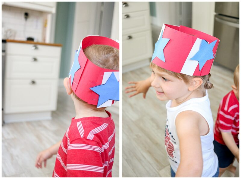 red white and blue patriotic hat craft for kids