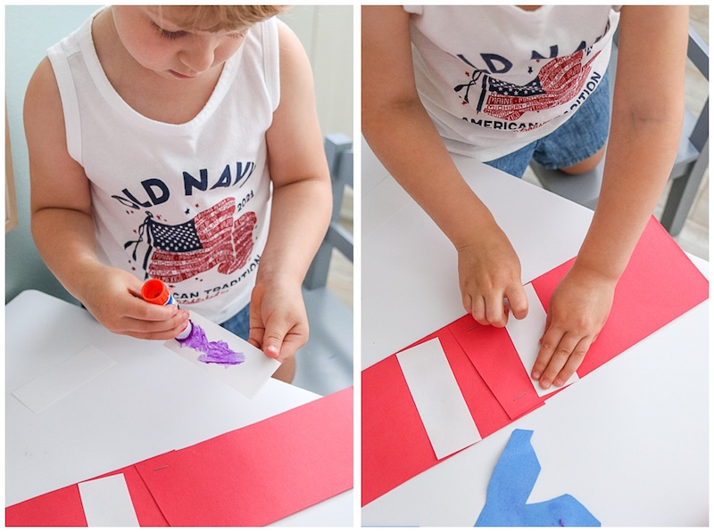 gluing white construction paper strips for patriotic kids paper craft